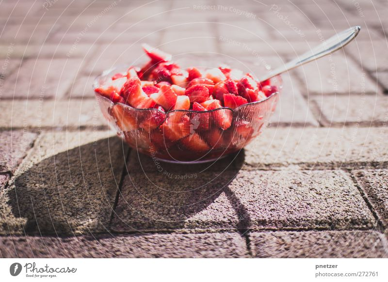 Summer Red Healthy Fruit Nutrition Food Sweet Healthy Eating Delicious Organic produce Bowl Strawberry Spoon Vegetarian diet Fruity