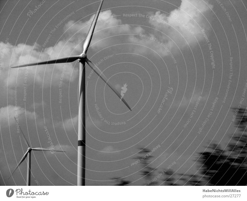 three-phase current Electricity Propeller Industry Wind energy plant Sky Movement Black & white photo Energy industry