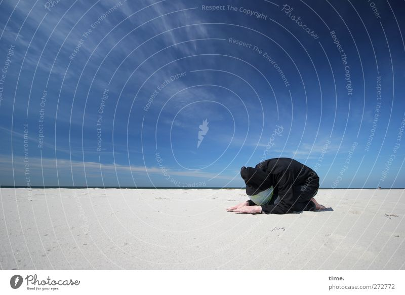 Hiddensee Homage 1 Human being Sky Clouds Horizon Sunlight Beautiful weather Coast Beach Baltic Sea Cap Crouch Lower Humble 1 Person Individual Prayer Duck down