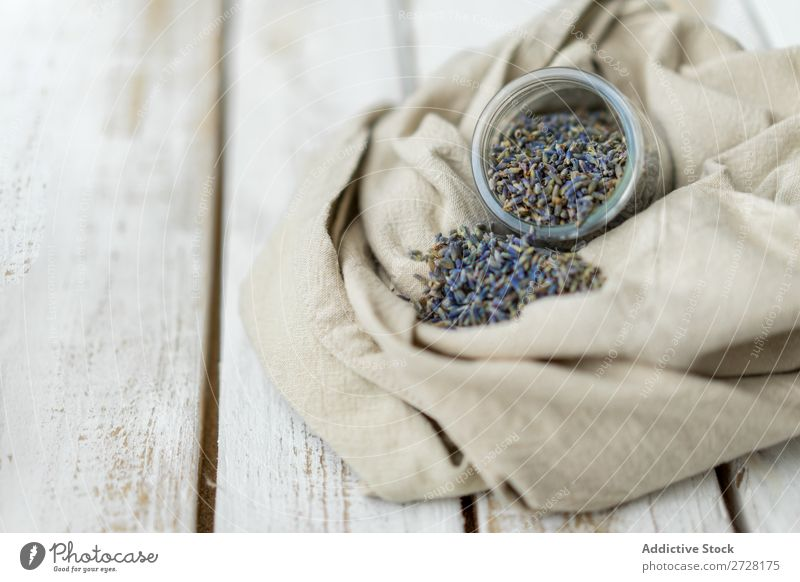 Rustic arrangement of aromatic seeds in jar Seeds Lavender Glass Style Fresh Organic flavor Canvas composition Fragrance Aromatic Herbs and spices Purple Flower