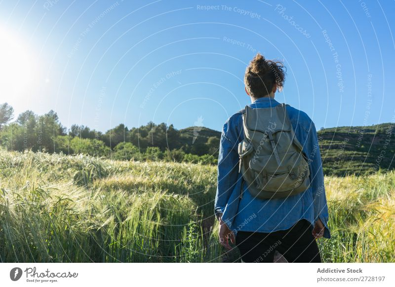 Cheerful man with backpack on nature Man backpacker Style Portrait photograph Adventure Vacation & Travel Modern Tourist Hipster Summer Self-confident