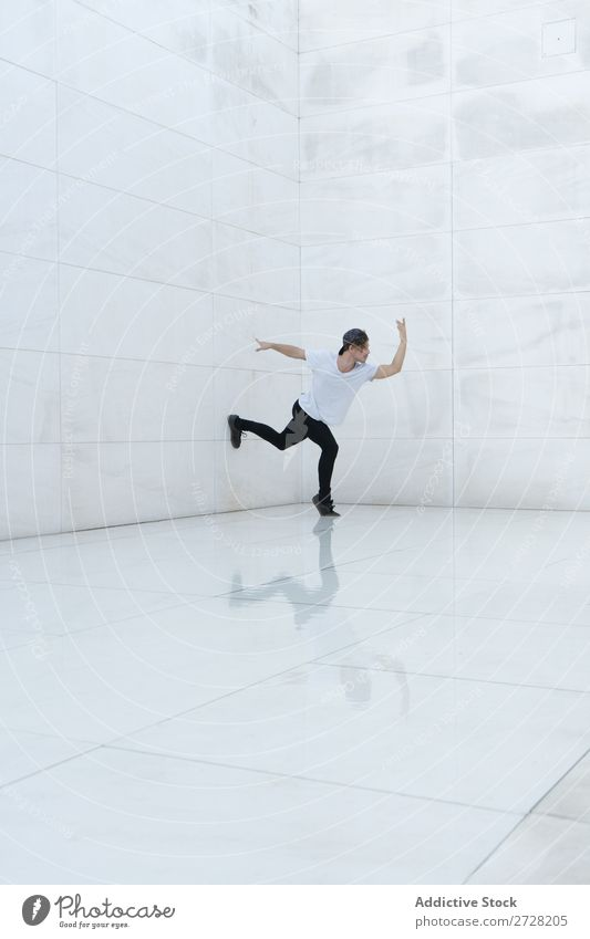 Man dancing on white Dancer Energy Structures and shapes Style Athletic Relaxation Freestyle
