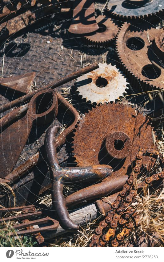 Metal machinery pieces and tools Background picture Broken Damage Iron Old Production abandoned Decay Rust Mechanism Steel Industry textured Design Engineering