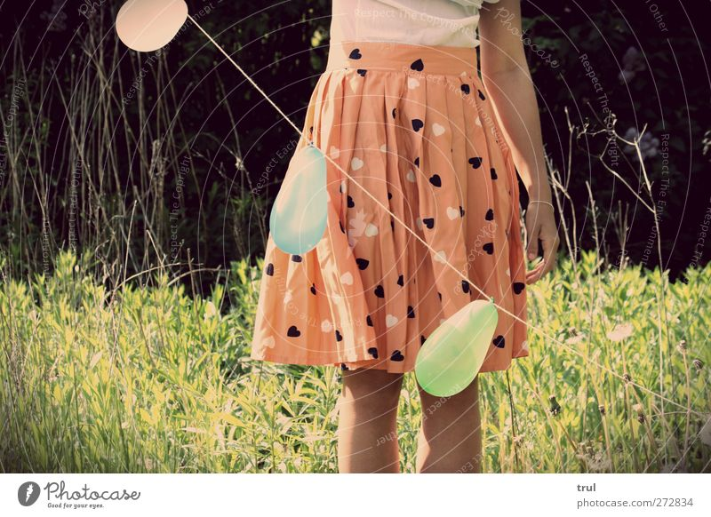 Balloon light life Feminine Young woman Youth (Young adults) Arm Legs Feet 1 Human being 18 - 30 years Adults Sun Plant Flower Grass Garden Shirt Skirt Stand