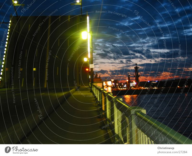after midnight Night Light Green Lamp Bridge Sky River Street Russia St. Petersburgh