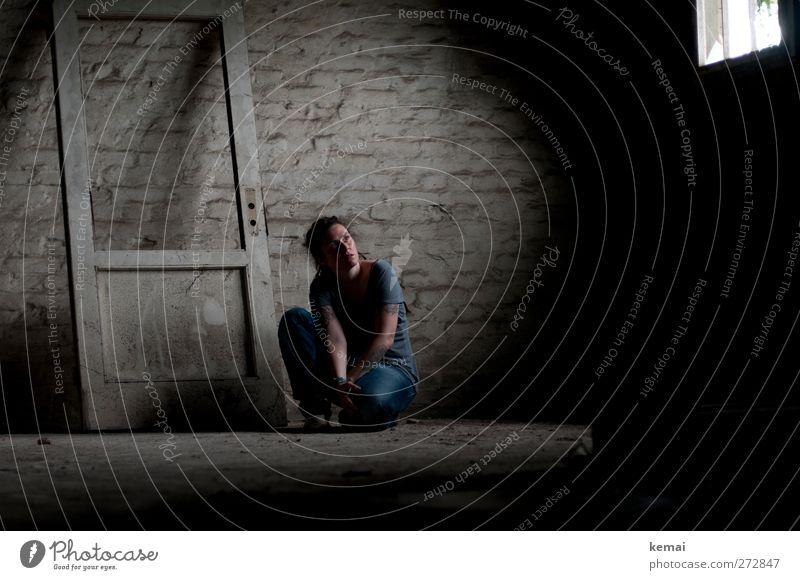 Human being Woman Loneliness Adults Window Dark Feminine Life Wall (building) Emotions Head Wall (barrier) Sadness Moody Door Arm