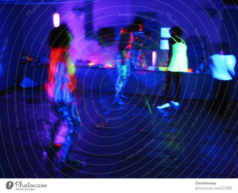 Trancedance1 Intoxication Bodypainting Party Light Neon light Multicoloured Night Night life Long exposure Dance Blue
