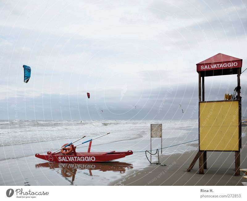 salvataggio Vacation & Travel Summer vacation Beach Ocean Waves Aquatics Surfing Kiting Sky Storm clouds Horizon Climate Bad weather Wind Gale Rimini Italy