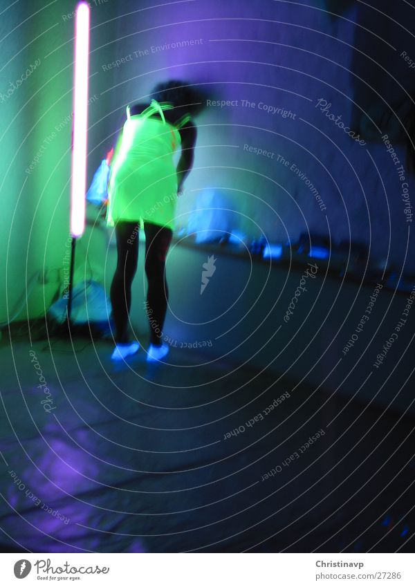 Woman Green Blue Violet Intoxication Neon light Human being Black light