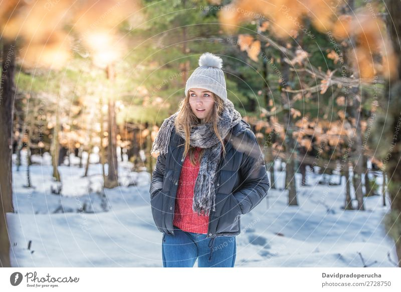 portrait Young pretty woman in winter in the snow Portrait photograph Winter Woman Snow Youth (Young adults) Happy Blonde Close-up Beautiful Girl Caucasian