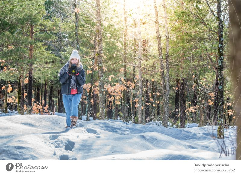 Young beautiful woman in winter in the snow Winter Woman Snow Youth (Young adults) Happy Blonde Beautiful Girl Caucasian Adults Fashion Walking Skin