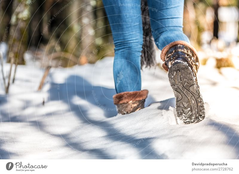 portrait woman boots on a road with snow in winter walking Boots Walking Winter Snow Woman Portrait photograph Youth (Young adults) Street Close-up Beautiful
