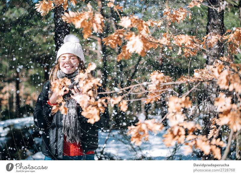 portrait Young pretty woman enjoying and playing with snow in winter Portrait photograph Winter Woman Playing having fun Snow Youth (Young adults) Happy Blonde