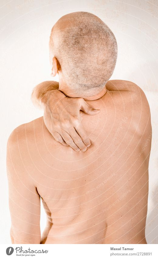 Man suffering of thoracic vertebrae or trapezius muscle pain Body Health care Illness Medication Massage Human being Adults Hand Muscular Pain Stress Neuralgia