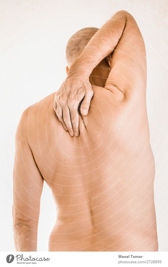 Man suffering of thoracic vertebrae pain Human being Hand Adults Health care Body Illness Medication Pain Stress Shoulder Muscular Massage Musculature Tension