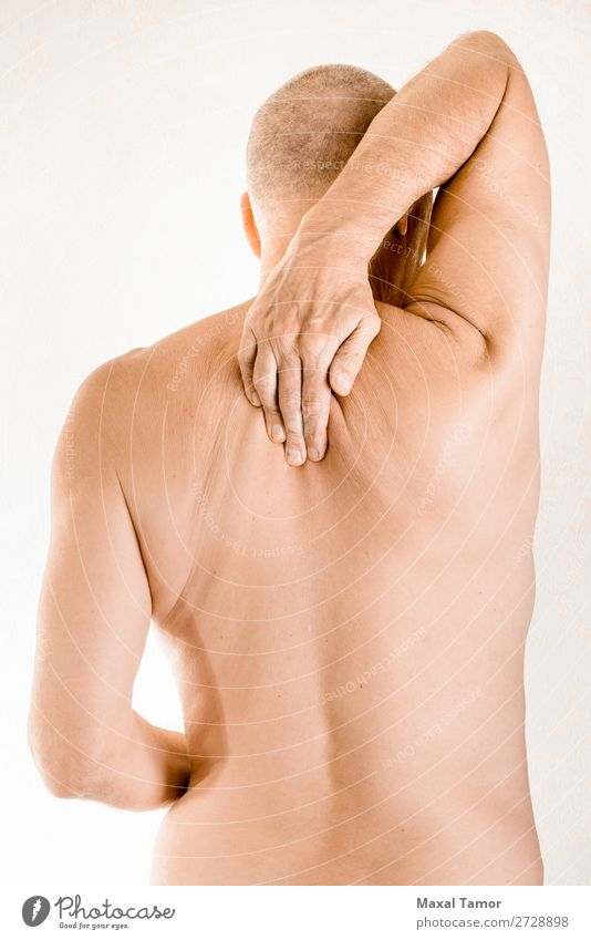 Man suffering of thoracic vertebrae pain Body Health care Illness Medication Massage Human being Adults Hand Muscular Pain Stress Neuralgia ache back backache