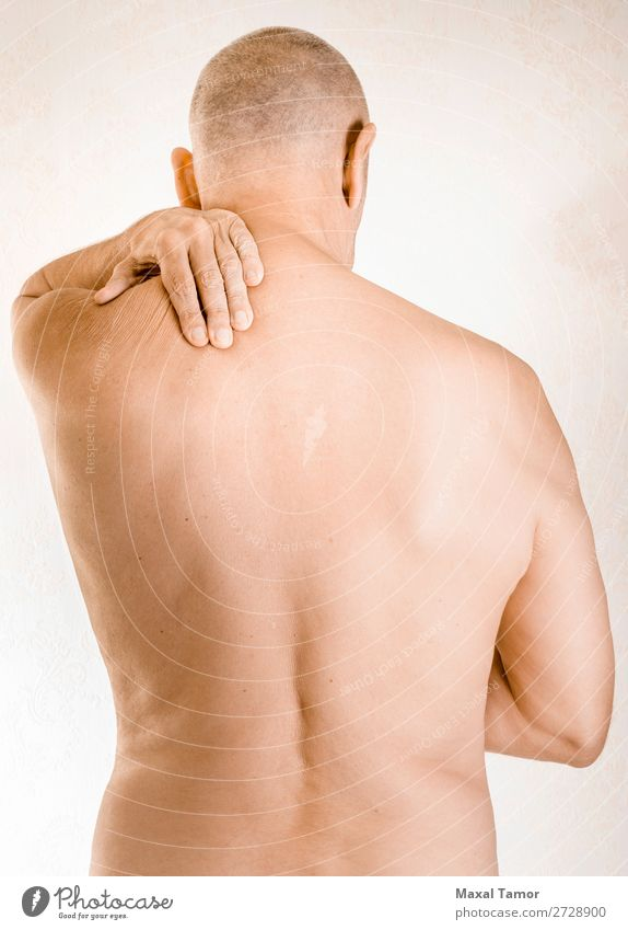 Man suffering of trapezius muscle pain Human being Hand Adults Health care Body Illness Medication Pain Stress Shoulder Muscular Massage Musculature Tension