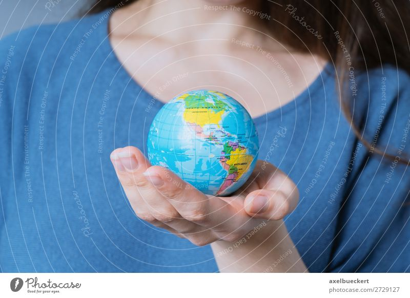 Woman holding globe in her hand Lifestyle Vacation & Travel Human being Feminine Young woman Youth (Young adults) Adults Hand 1 18 - 30 years Environment Earth
