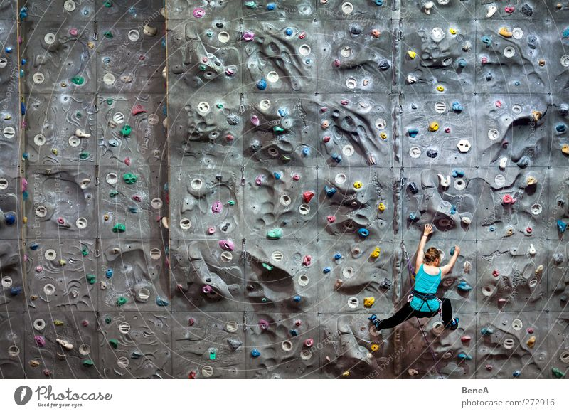 climb Leisure and hobbies Climbing Sports Fitness Sports Training Sportsperson Climbing wall Door handle Sporting Complex climbing hall Human being Feminine