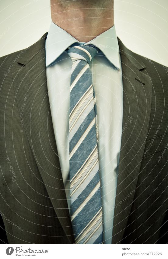 I've got such a neck! Work and employment Economy Services Financial Industry Company Career Success Human being Masculine Man Adults 1 Suit Jacket Tie Stripe