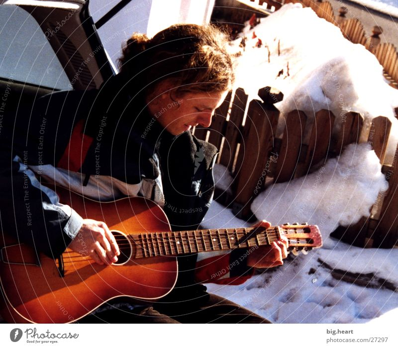 guitar and snow Winter Human being Music Guitar Snow Sun