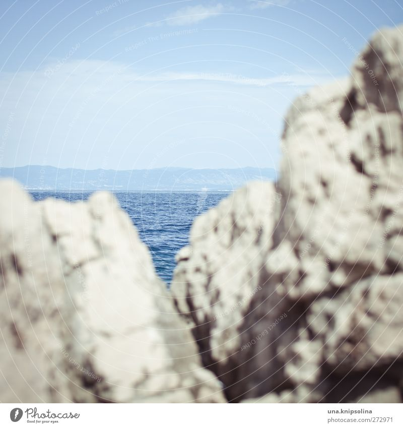 sea view Elements Water Sky Sunlight Rock Waves Ocean Sharp-edged Rough Adriatic Sea Blue Steep Colour photo Subdued colour Exterior shot Detail Abstract