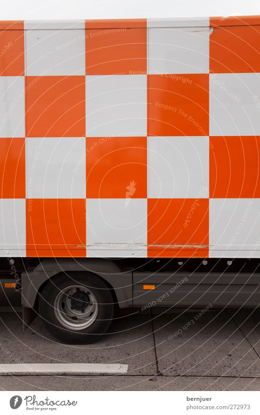 how about a nice game of chess Transport Logistics Motoring Truck Orange White Responsibility Design Safety Chessboard Asphalt Pattern Checkered Tire Street