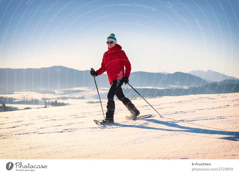 Snowshoeing - woman trekking in winter mountains Life Vacation & Travel Winter Hiking Sports Winter sports Human being Woman Adults 1 Nature Beautiful weather