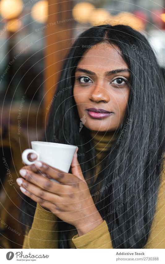 Pretty Indian ethnic woman with cup Woman pretty Cup Drinking Coffee Beautiful Ethnic Attractive Youth (Young adults) Portrait photograph Human being Beverage