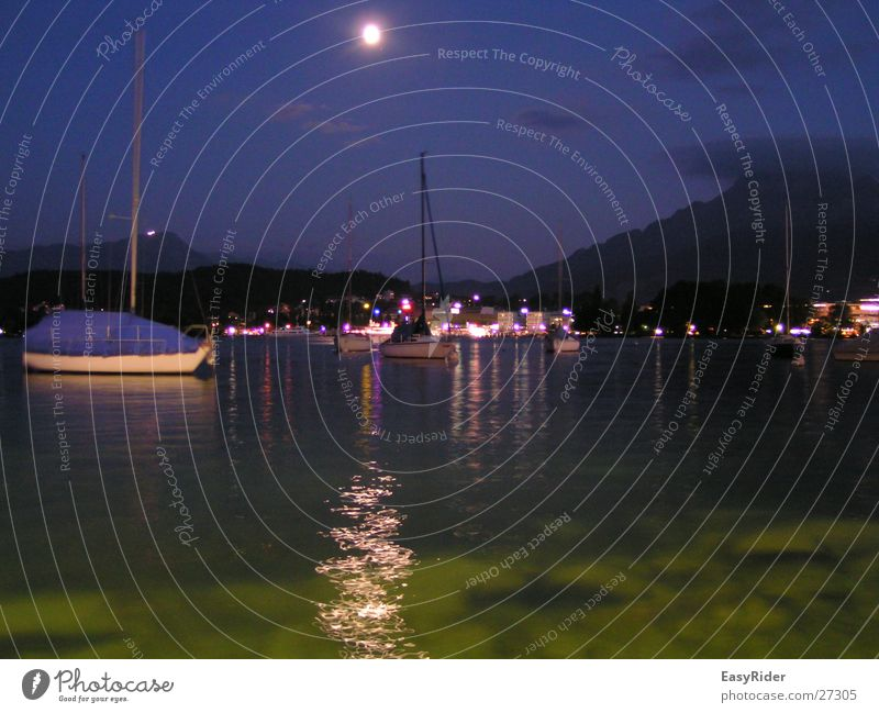 Water Lake Watercraft Harbour Moon Moonlight Lucerne Lake Lucerne