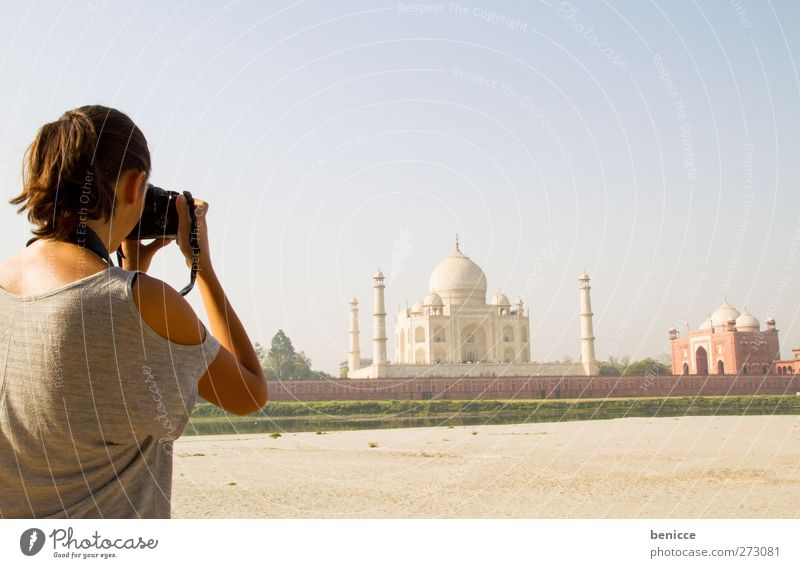 at the Taj Mahal Woman Human being Agra India Asia Vacation & Travel Travel photography Feminine Summer Backpacking Camera SLR Single-lens reflex camera