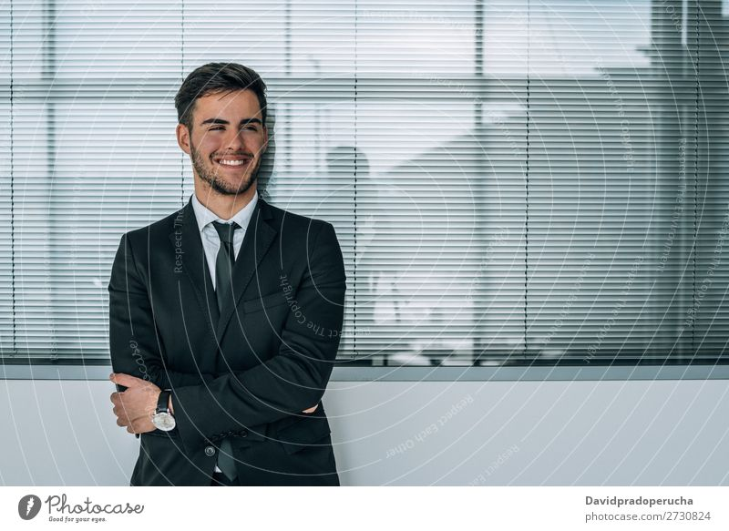 portrait of young  businessman smiling at the airport with suit Portrait photograph Close-up Businessman Youth (Young adults) Man Stand Isolated Airport Smiling