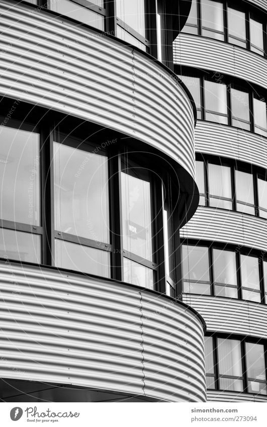buildings Workplace Office Fear of heights Duisburg Broker Flat (apartment) Habitat Dramatic Worm's-eye view Gray Bright Simple Modern art Architecture