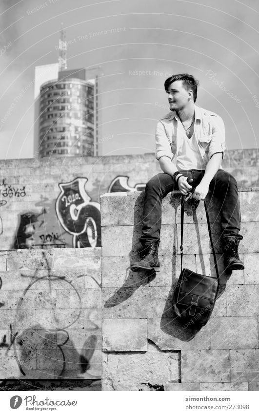 rest 1 Human being Style Graffiti Wall (barrier) High-rise Retro Bag Youth (Young adults) Break Shirt Boots Hip-hop Hip & trendy Modern Vantage point Young man