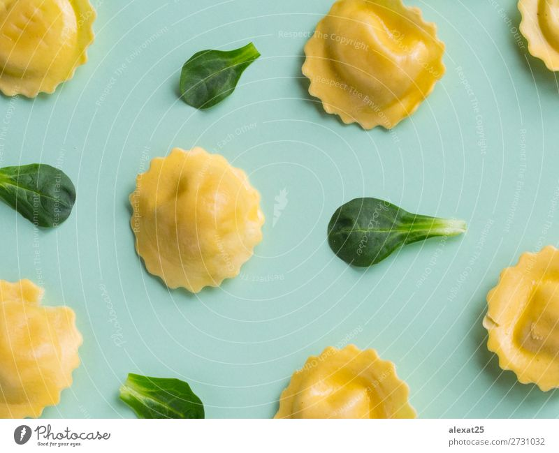 Green raw ravioli pattern Lunch Dinner Delicious Creativity Tradition background Cooking flat food Gourmet Horizontal isolated lay Meal Photography Ravioli Raw