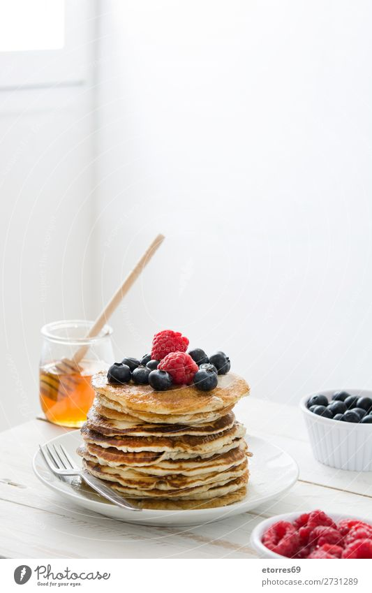 American pancakes with raspberries and blueberries Pancake Blueberry Raspberry Dessert Sweet Breakfast Delicious Kitchen Decoration Plate Food Healthy Eating