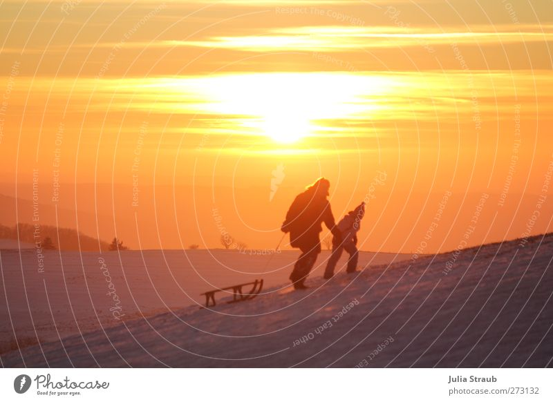 uphill Sleigh Sledding Human being Child Woman Adults 2 Walking Colour photo Exterior shot Copy Space top Evening Twilight Sunrise Sunset Sledge Upward Pull