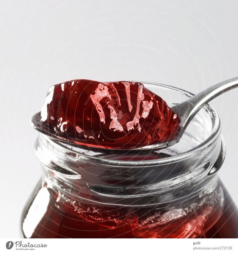 jelly with glass and spoon Food Fruit Candy Jam Nutrition Breakfast Crockery Spoon Elegant Simple Fresh Clean Pure potted Copy Space dose Eating