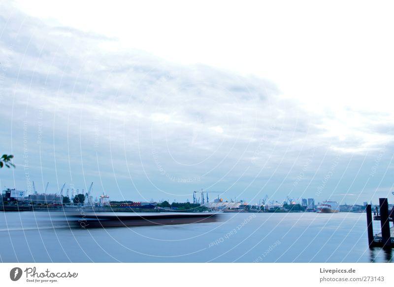 Port of Hamburch Harbour Economy Industry Trade Logistics River Port City Deserted Navigation Steamer Driving Blue Black White Watercraft Multicoloured