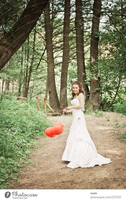 Human being Woman Nature Youth (Young adults) Green Beautiful Tree Red Summer Adults Forest Environment Landscape Feminine Lanes & trails Park