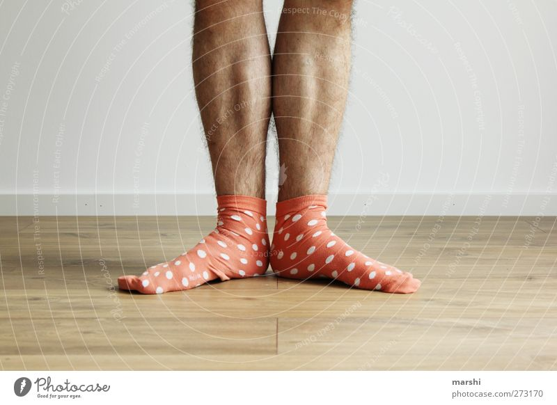 Charly Chaplin 2012 Style Human being Masculine Young man Youth (Young adults) Man Adults Legs Feet Orange Spotted Stand Stockings Colour photo Interior shot