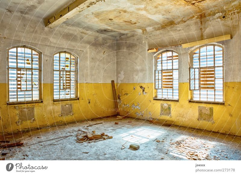 Room free Ruin Wall (barrier) Wall (building) Window Old Bright Broken Retro Blue Brown Yellow White Bizarre Decline Transience Colour photo Multicoloured