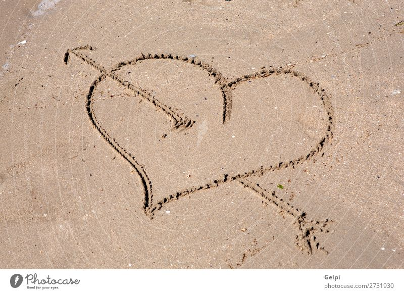 Heart engraved on the wet sand Beautiful Summer Beach Ocean Sand Coast Love Draw Write Wet Gold Emotions Passion Romance Puppy love Carve character drawing