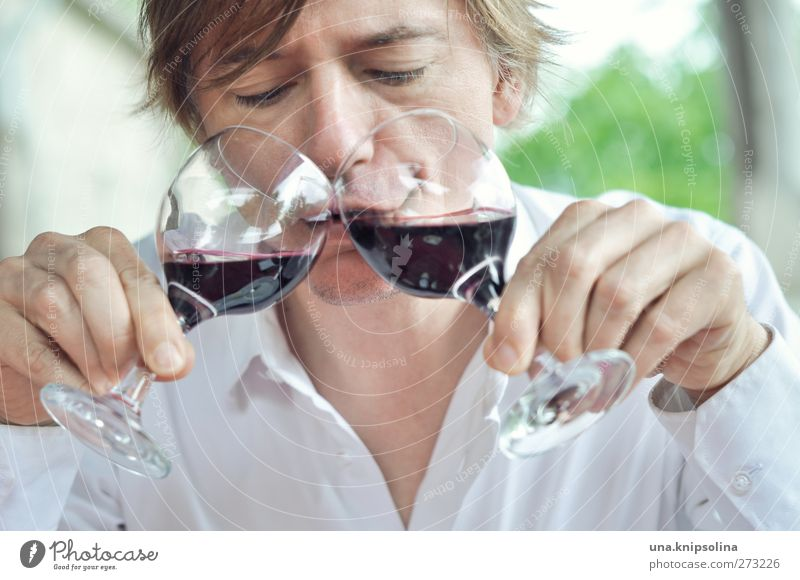 Human being Man Joy Adults Funny Blonde Glass Masculine Crazy Happiness Beverage Uniqueness Drinking Wine To hold on Shirt