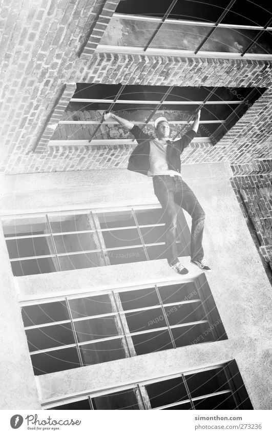 Human being Adults Window Movement Building Power Exceptional Individual Athletic Stress Whimsical Bizarre Hang Ease Surrealism Effort