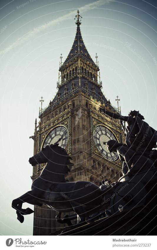 Big Ben Sculpture Architecture Sky London England English Europe Town Capital city Downtown Tower Clock tower Tourist Attraction Landmark Monument Old