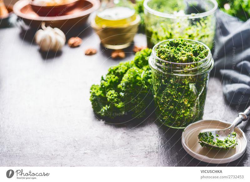 Green cabbage pesto in a jar Food Vegetable Nutrition Organic produce Vegetarian diet Diet Crockery Style Design Healthy Healthy Eating Kitchen Italien pesto