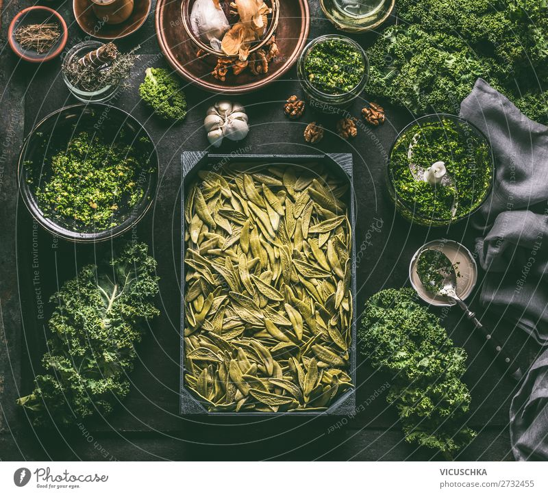 Green pasta with green cabbage Food Vegetable Herbs and spices Nutrition Organic produce Vegetarian diet Diet Italian Food Crockery Style Design Healthy Eating