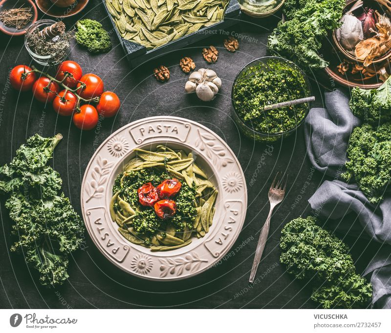 Green noodles with green cabbage pesto and grilled tomatoes Food Vegetable Nutrition Lunch Organic produce Vegetarian diet Diet Italian Food Crockery Plate