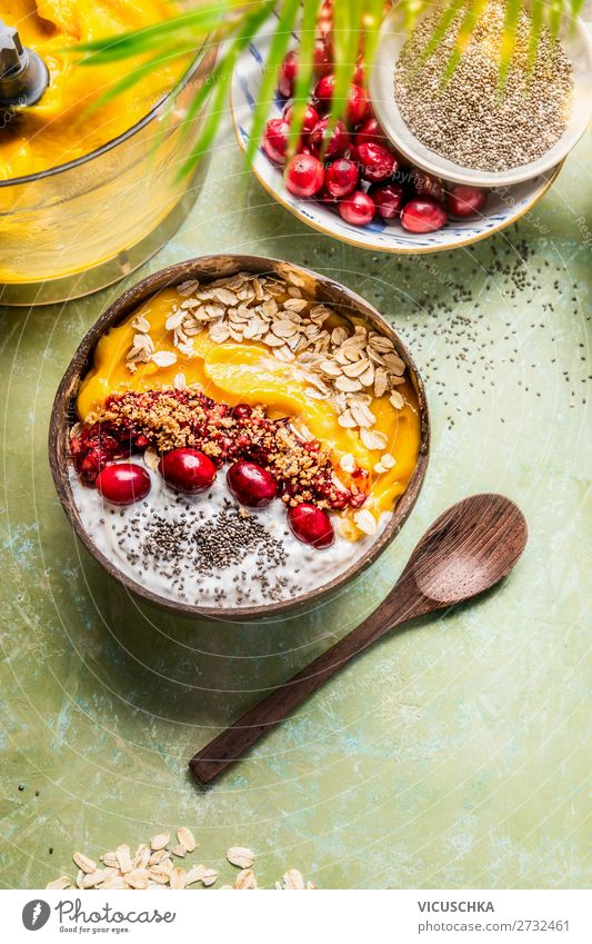 Smoothie bowl with mango and yoghurt Food Dairy Products Fruit Grain Nutrition Breakfast Organic produce Vegetarian diet Diet Crockery Bowl Spoon Style Design